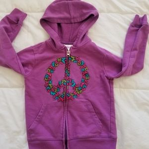 Purple peace sign with butterflies hoodie
